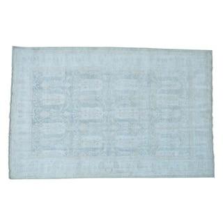 Silver Wash Peshawar Safavid Dynasty Design Handmade Rug (6'2 x 9'4)
