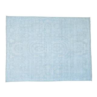 Silver Wash Oushak Jewelry Design Handmade Oriental Rug (9' x 11'7)