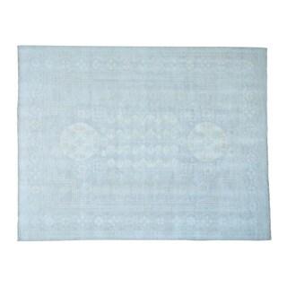 Pure Wool Silver Wash Khotan Design Handmade Oriental Rug (9' x 11'8)