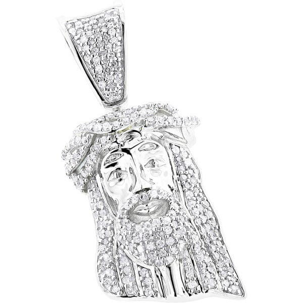Luxurman 10k Gold Solid 1/2ct TDW Diamond Jesus Crown Pendant