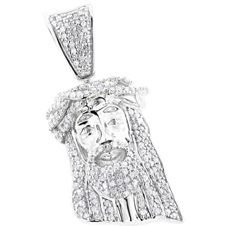 Luxurman 10k Gold Solid 1/2ct TDW Diamond Jesus Crown Pendant (H-I, SI1-SI2)