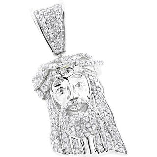 Luxurman 10k Gold Solid 1/2ct TDW Diamond Jesus Crown Pendant