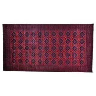 Afghan Khamyab Wide Gallery Pure Wool Hand-knotted Runner Rug (9'9 x 18'4)