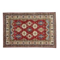 Red Super Kazak Geometric Design Handmade Oriental Rug (6' x 9')