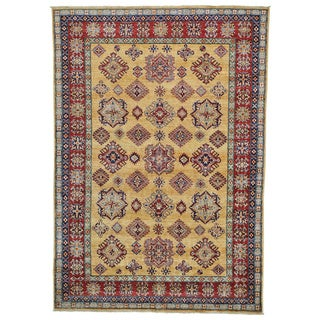Super Kazak Gold Wool Geometric Design Handmade Oriental Rug (6' x 8'5)