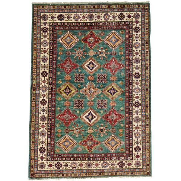 Teal Super Kazak Handmade Oriental Rug Wool
