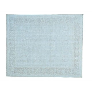 Pure Wool Silver Wash Oushak Hand-knotted Oriental Rug (8'1 x 9'9)