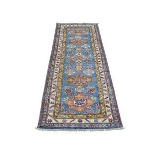 Super Kazak Geometric Design Handmade Runner Oriental Runner Rug (2'1 x 5'7)