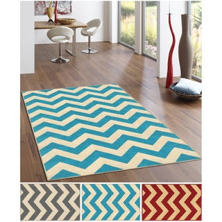 Chevron Zig Zag Non-slip Rubber Backed Area Rug (5' x 6'7)