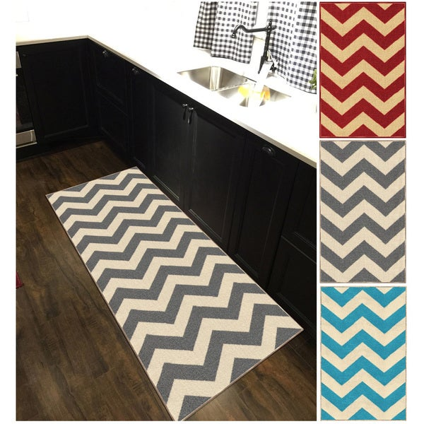 Shop Chevron Zig Zag Non Slip Rubber Backed Long Runner