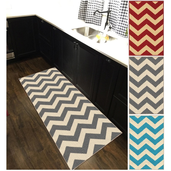 Chevron Kitchen Rug: Shop Chevron Zig Zag Non-slip Rubber Backed Long Runner