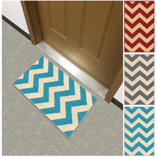 Shop Chevron Zig Zag Non Slip Rubber Backed Doormat Accent