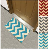 Chevron Zig Zag Non-slip Rubber Backed Doormat Accent Rug - 1'6 x 2'7