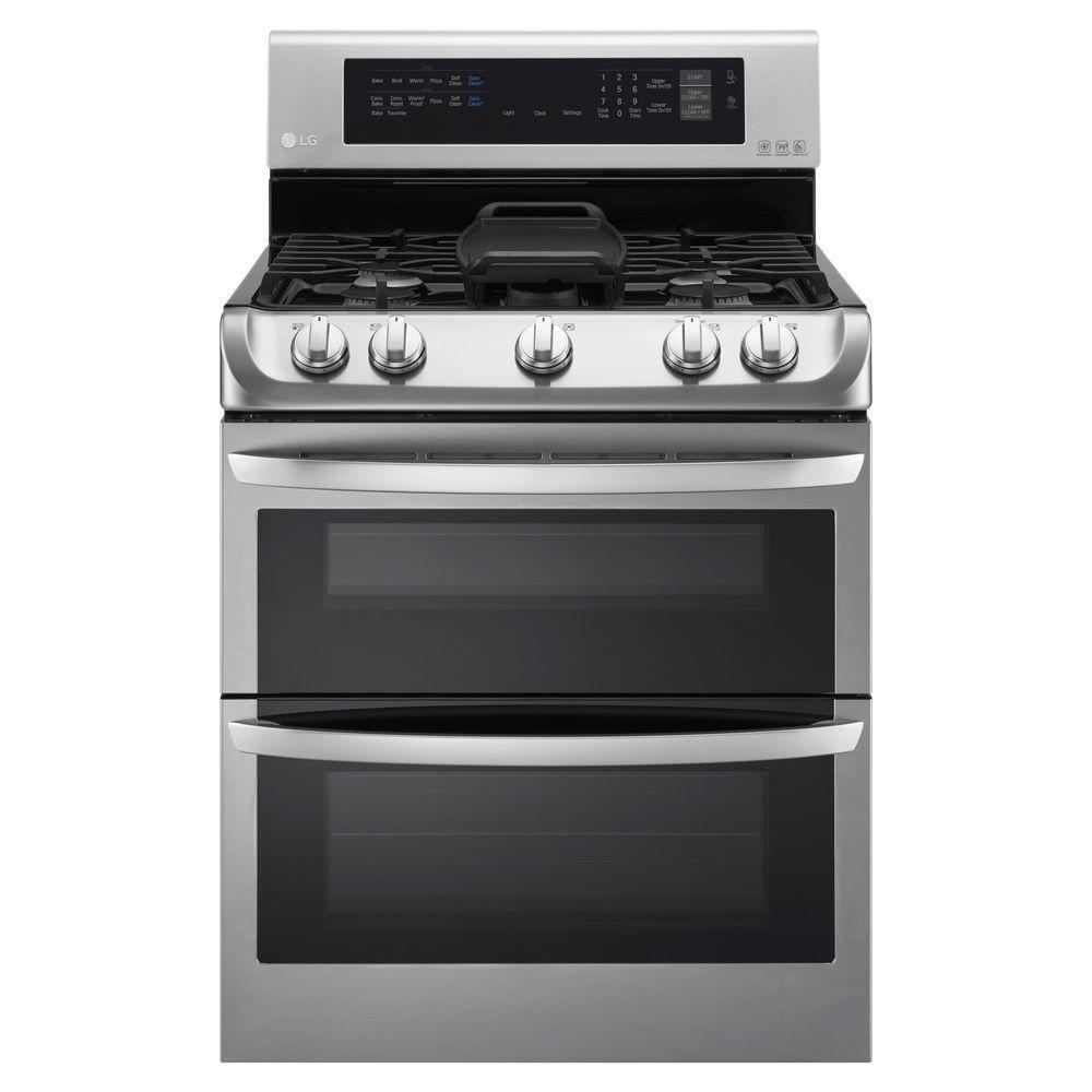 LG 30-inch Freestanding Double Oven 18,500-BTU Gas Range ...