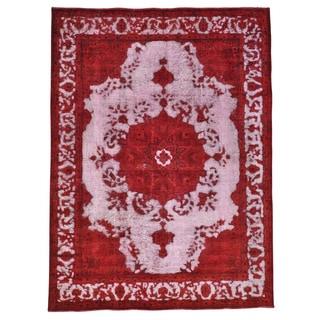 Red Overdyed Persian Tabriz Barjasta Handmade Rug (8'1 x 11')