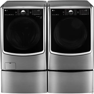 LG TwinWash Laundry Package with Washer, Electric Dryer, SideKick Washer, and laundry pedestal