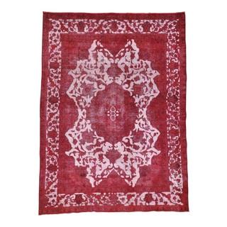Handmade Red Overdyed Persian Tabriz Barjasta Rug (8'2 x 11'1)