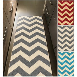 Chevron Zig Zag Non-slip Rubber Backed Runner Rug (22' x 96')