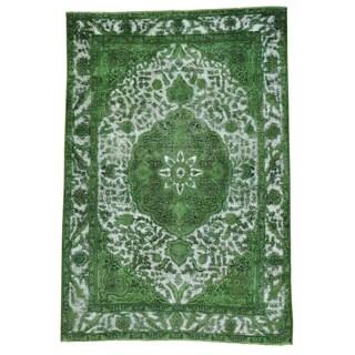 Light Green Overdyed Persian Tabriz Barjasta Rug (6'7 x 9'7)