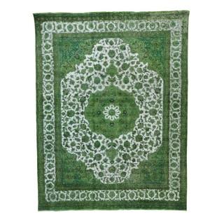 Light Green Overdyed Persian Tabriz Barjasta Oriental Rug (9'7 x 12'5)