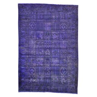 Purple Overdyed Persian Tabriz Handmade Oriental Rug (6'8 x 9'10)