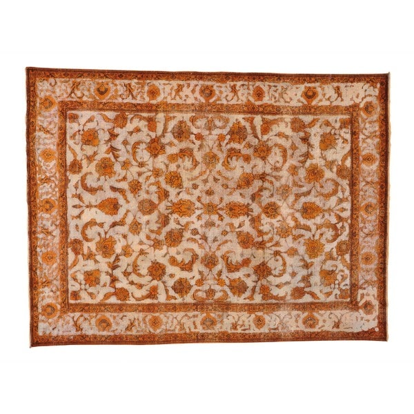 Handmade Orange Overdyed Persian Tabriz Barjasta Rug