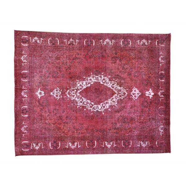 Handmade Pink Overdyed Persian Tabriz Barjasta Rug (9'7 x 12'3) - 2'4 x 20'1