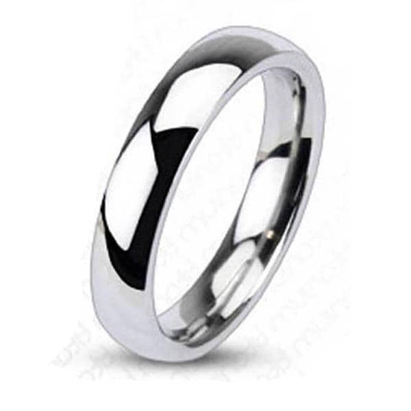 Solid Titanium 4mm Wide Glossy Mirror Polished Traditional Wedding Band Ring