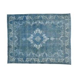 Overdyed Persian Tabriz Barjasta Handmade Oriental Rug (9'10 x 12'5)