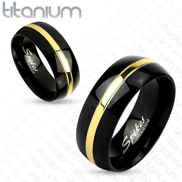 Two Tone Gold Line Center Black IP Titanium Couple Ring