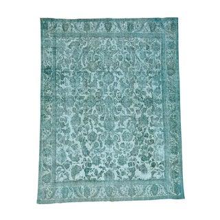 Light Green Overdyed Persian Tabriz Barjasta Handmade Rug (9'6 x 12'5)