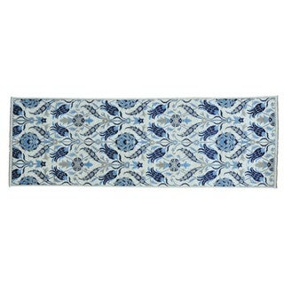 Arts and Crafts Wide Runner Modern Handmade Oriental Runner Rug (4' x 12')
