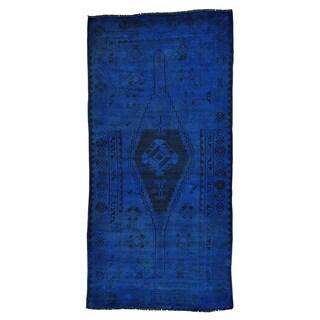 Handmade Overdyed Gallery Size Persian Shiraz Worn Down Runner Rug (5' x 10')