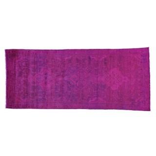 Persian Hussainabad Overdyed Pink Wide Runner Handmade Runner Rug (4'1 x 9'8)