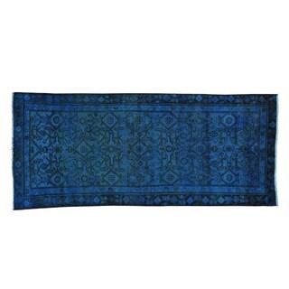 Semi Antique Overdyed Hamadan Runner Handmade Runner Rug (3'2 x 7'5)