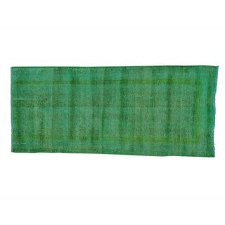 Semi Antique Runner Overdyed Tabriz Handmade Runner Rug (3'4 x 7'9)