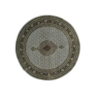 Tabriz Mahi Wool and Silk Round Hand-knotted Rug (8' x 8')