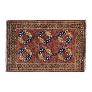 Pure Wool Afghan Ersari Elephant Feet Handmade Rug (4'1 x 6'2)