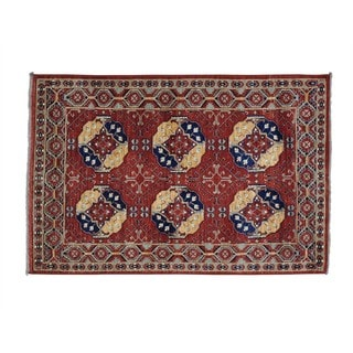Handmade Elephant Feet Turkoman Afghan Ersari Oriental Rug (4' x 6')