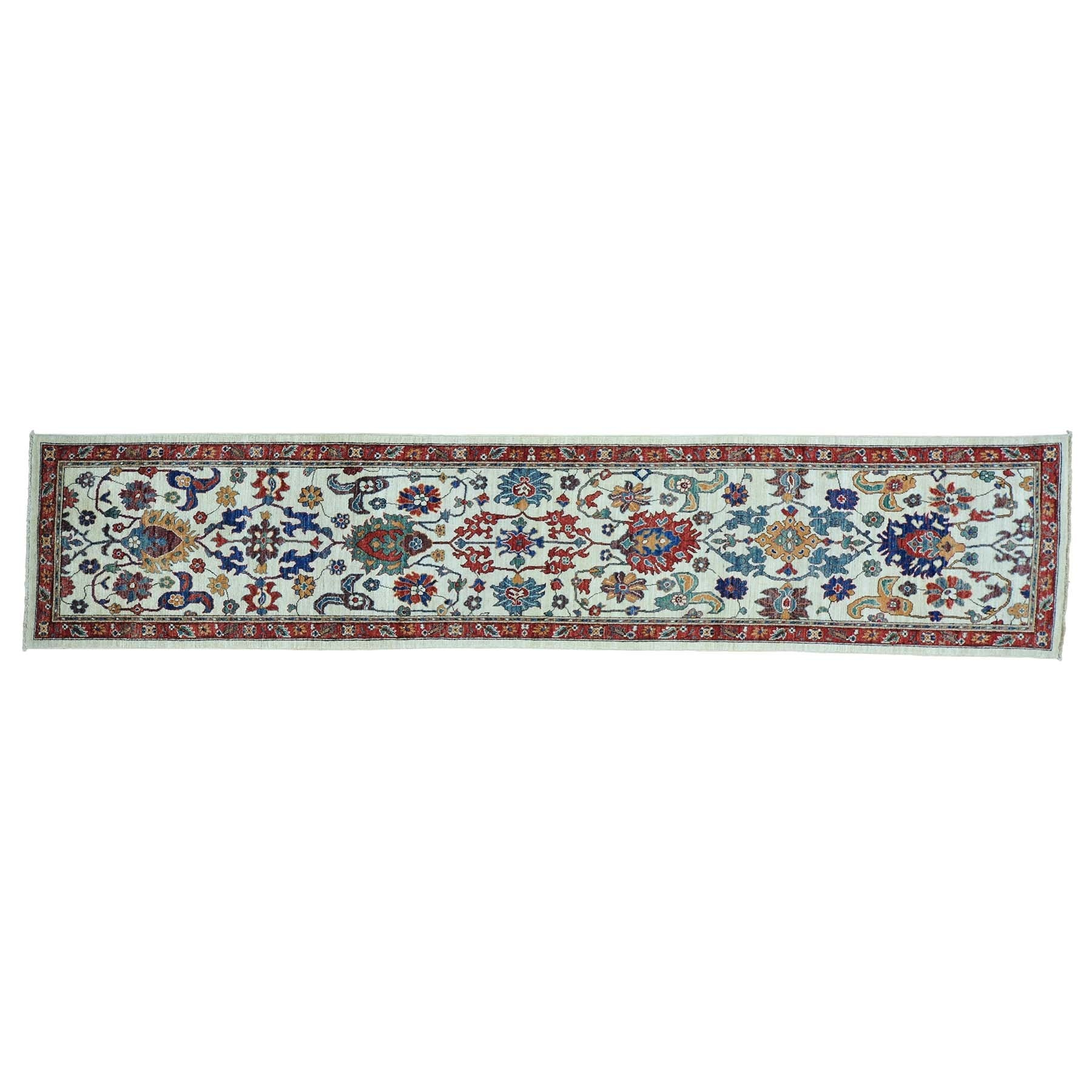 1800getarug Hand-knotted Runner Antiqued Sultanabad Orien...