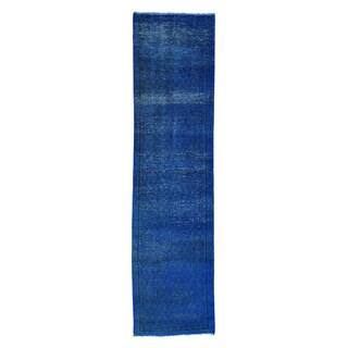 Persian Sarouk Mir Black/Blue Wool Handmade Overdyed Oriental Runner Rug (2'2 x 8'9)