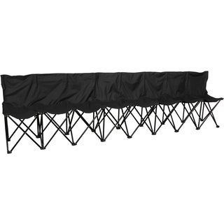 Black Portable Sports Bench with Back Sits 8 People Case Included by Trademark Innovations