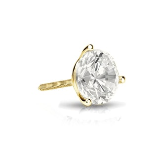 Auriya 14k Gold 1/4ct TDW Round-Cut Diamond 3-Prong Screw-Back Single Stud Earring (I-J, I1-I2)