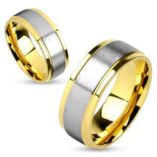 Stainless Steel Gold IP Two-Tone Soft Brushed Metal Center Step Edge Couples Ring