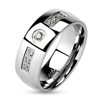 stainless steel inlaid white gemstones wedding ring - Stainless Steel Wedding Rings