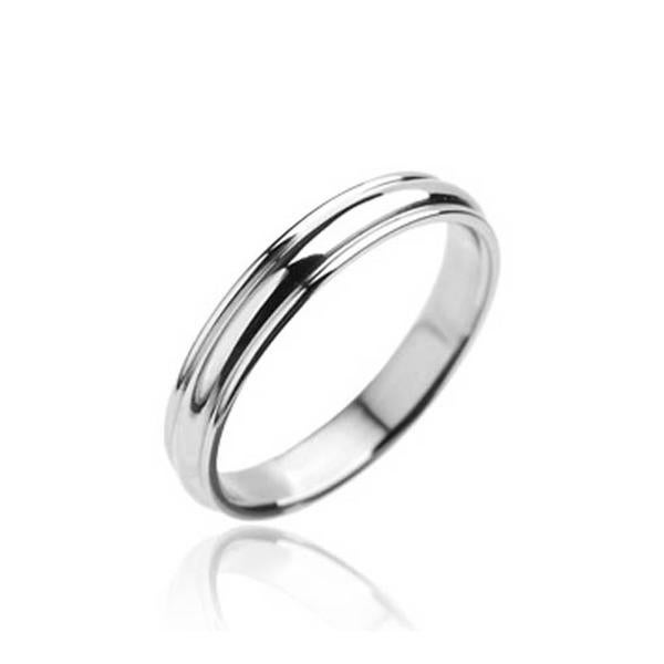Stainless Steel Grooved Wedding Band