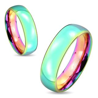 Dome Rainbow IP Stainless Steel Couple Ring (More options available)