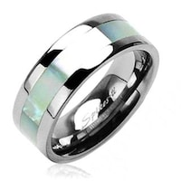 Shop Oliveti Women\'s Titanium Ring with Pink Mother of Pearl Inlay ...