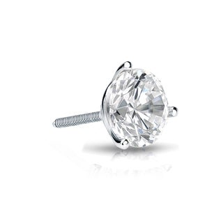 Auriya 14k Gold 1/3ct TDW Round-Cut Diamond 3-Prong Screw-Back Single Stud Earring (H-I, SI1-SI2)