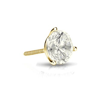 Auriya 14k Gold 1/4ct TDW Round-Cut Diamond 3-Prong Screw-Back Single Stud Earring (J-K, I2-I3)